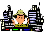 Missionary with pith helmet, in a city-scape
